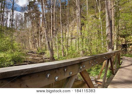 Robecsky potok creek in Peklo Valley from wooden footbridge in spring Machuv kraj region