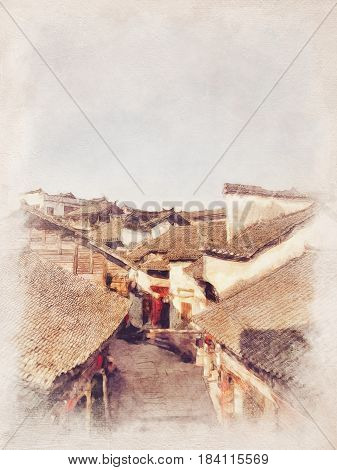 Watercolor Landscape of Fenghuang Ancient Town at day. Hunan Province China