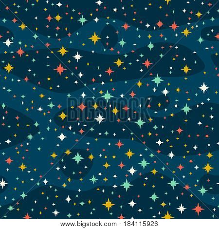 Stars in the sky, seamless vector background. Deep space.