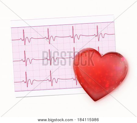 Vector illustration of red heart shape with Electrocardiogram Record Paper
