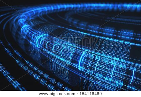 3D illustration abstract background technology concept. Binary tubes and connections.