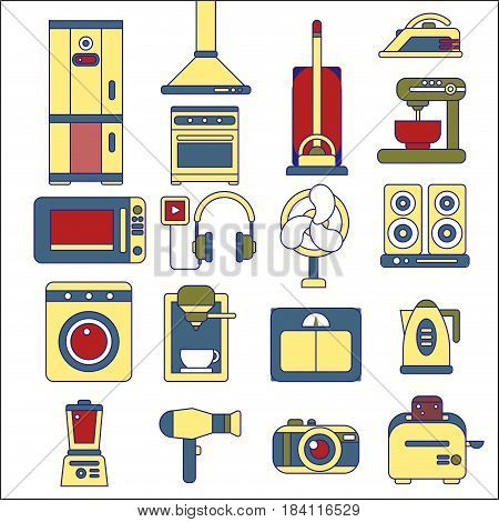 Line icons with flat design elements of major home appliances, consumer electronics devices, household goods for cooking and cleaning. Modern infographic vector logo pictogram collection concept.