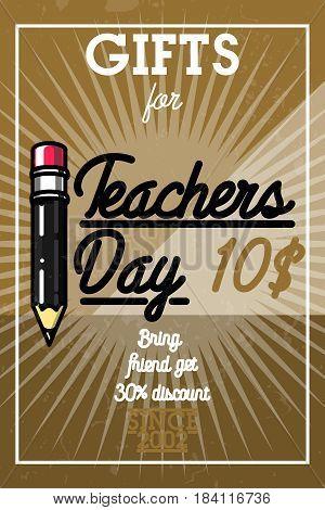 Color vintage teachers day banner. Happy teachers day.