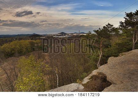 Ceska Lipa city from rock view Skautska skala in sping tourist area Machuv kraj