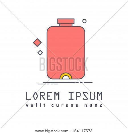 Flat line icon of medical warmer red color. Medical equipment for colds flu