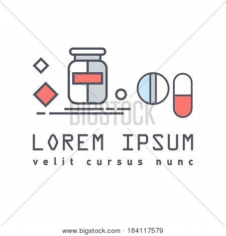Vector flat icon of medical bottle of pills, vitamins, capsules, lozenges. Medication care for the human body. Vitamin course