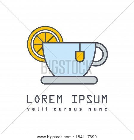 Flat icon or logo of cup of tea with slice of lemon. Tea party, bun-fight.