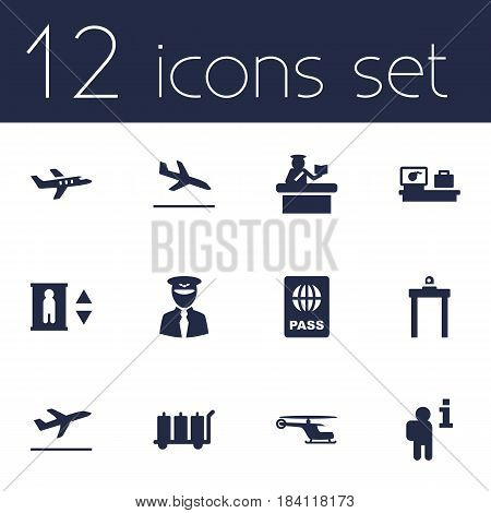 Set Of 12 Airplane Icons Set.Collection Of Security, Letdown, Data And Other Elements.