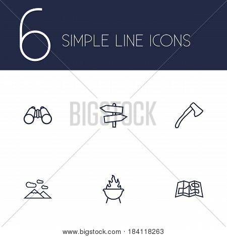 Set Of 6 Picnic Outline Icons Set.Collection Of Ax, Guidepost, Binoculars And Other Elements.