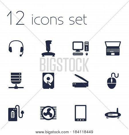 Set Of 12 Notebook Icons Set.Collection Of Router, Headset, Datacenter And Other Elements.