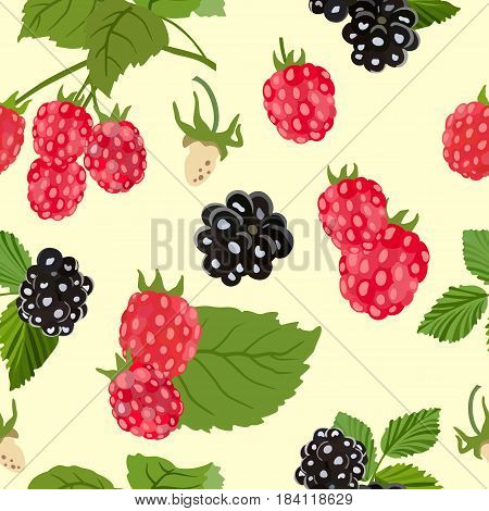 Vector seamless pattern with berries and raspberry and blackberry leaves on a light background.