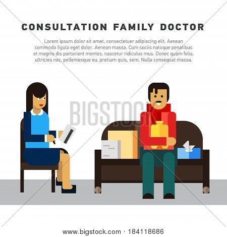 Flat illustration consultation family doctor. Medical Consultation between doctor and her man patient at sofa. Seasonal flu symptoms
