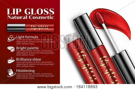 Luxury lip gloss ads, sticky glossy liquid with transparent glass container Cosmetics Package Design Promotion Product background. Advertising Banner Billboard Poster Catalog. 3D Vector Illustration.