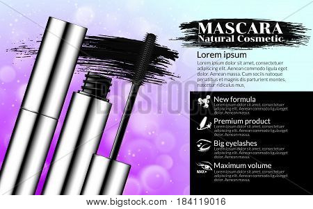 Luxury mascara brush silver package with eyelash applicator Cosmetics Package Design Promotion Product pink background. Advertising Banner Billboard Poster Catalog. 3D Vector Illustration