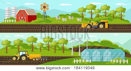 Colorful agriculture horizontal banners with farm barn windmill tractors harvesting greenhouse and cows vector illustration