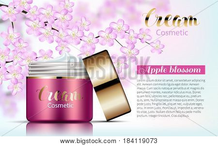Pink Cream bank on Soft Background with Branches with blooming flowers. Excellent Advertising, Gentle Creams. Cosmetic Package Design Sale Promotion New Product 3D Vector Illustration.