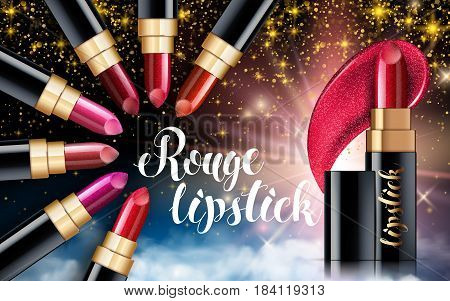 Makeup ads template Charming red lipstick mockup with sparkling background. Package Design Promotion Product. Cosmetics Advertising Banner Billboard Poster Catalog. 3D Vector Illustration..