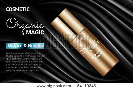 Golden Bottle Moisturizer Splendid Poster Premium Ads Mock up on Black Background. Excellent Advertising. Cosmetic Package Design Promotion Product. 3D Vector Illustration.