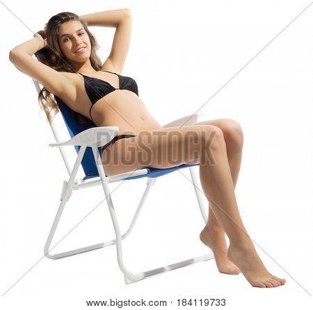 Young girl in bikini isolated