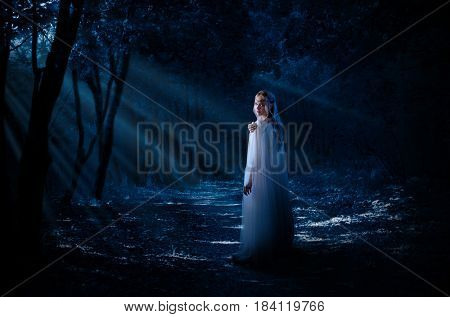 Young elven girl in the forest