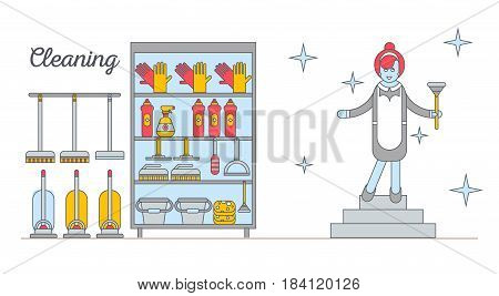 Flat illustration home appliances, household chemicals and woman washing and cleaning. Cleaning company. Housekeeper. Doodle design style concept, for web banners.