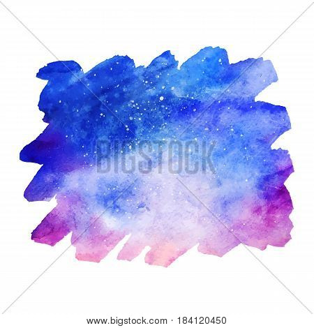 Watercolor colorful starry space galaxy nebula spot background vector