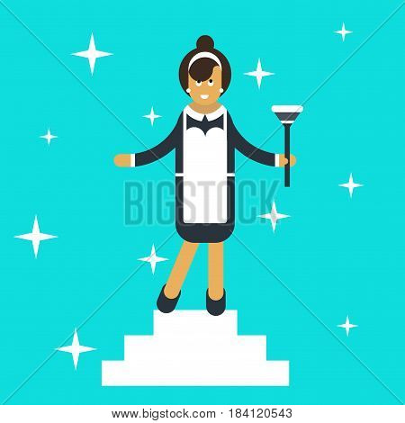Cleaning service advertisement with cleaning woman in classic maid dress cartoon flat vector illustration. Housekeeper.