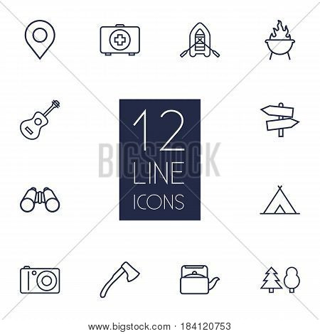Set Of 12 Outdoor Outline Icons Set.Collection Of Guidepost, Rubber Boat, Shelter And Other Elements.