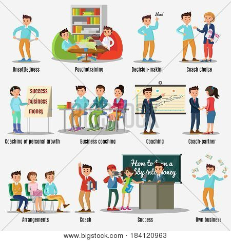 Coaching characters set with different kinds of training teaching and motivations isolated vector illustration
