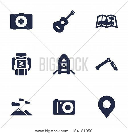 Set Of 9 Camping Icons Set.Collection Of Acoustic, Jackknife, Backpack And Other Elements.