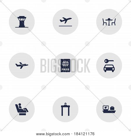 Set Of 9 Aircraft Icons Set.Collection Of Air Traffic Controller, Metal Detector, Aircraft And Other Elements.