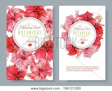 Vector red tea vertical banners with hibiscus flowers on white background. Botanic frame. Design for packaging, tea shop. Can be used as dreeting card and wedding invitation. With place for text