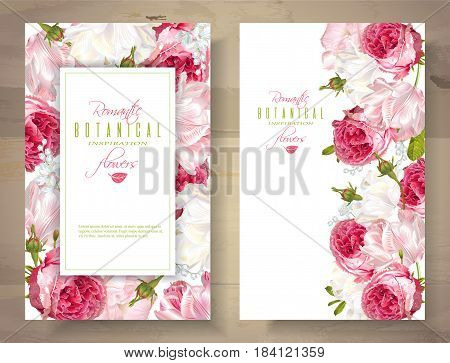 Vector vertical banners with garden roses and tulip flowers on white background. Romantic design for natural cosmetics, perfume, women products. Can be used as greeting card or wedding invitation