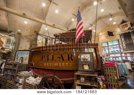 USA. FLORIDA. ISLAMORADA. APRIL,2017: Store Bass Pro Shops where is installed Hemingway's boat Pilar. Florida Keys.