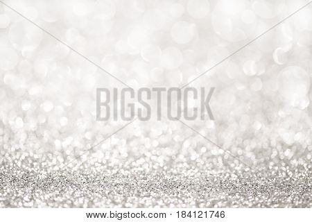 Shinny silver glitter abstract light as background
