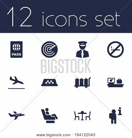 Set Of 12 Land Icons Set.Collection Of Radiolocator, Cab, Data And Other Elements.