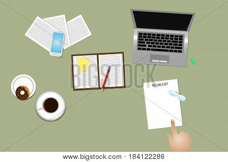 Office desk top view with supplies, coffee cup and donut. Finger is pointing paper with time management method To Do List