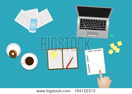 Office desk top view with supplies coffee cup and donut. Finger is pointing paper with time management method Important and urgent.