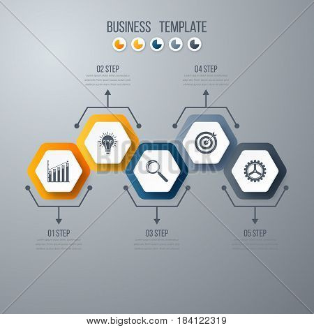 Infographics template 5 options with hexagon. Can be used for workflow layout, diagram, number options, step up options, web design, presentations