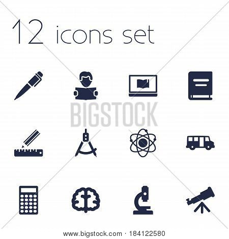 Set Of 12 Education Icons Set.Collection Of Magnet Navigator, Reading, School Autobus And Other Elements.