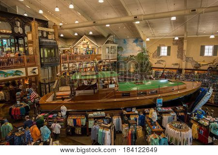USA. FLORIDA. ISLAMORADA. APRIL,2017: Store Bass Pro Shops where is installed Hemingway's boat Pilar. Florida Keys.