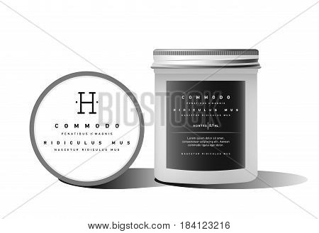 Realistic white cosmetic cream container for cream lotion. Mock up bottle. Gel, powder, balsam, with design label and ddifferent sizes. Soap pump. Containers for bulk mixtures.