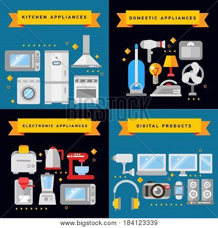 Household icons concept set of domestic appliances kitchen equipment and digital products square composition flat vector illustration