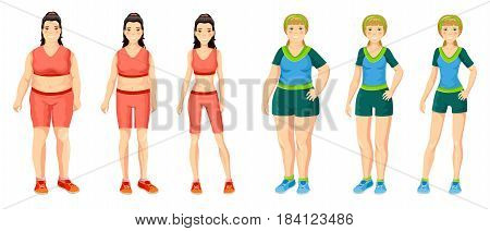 Cartoon women weight loss concept with girls before and after sport active lifestyle and dieting isolated vector illustration