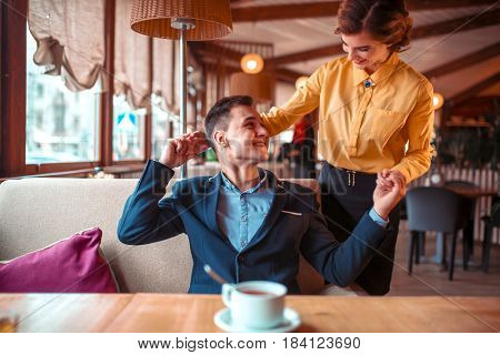 Romantic date of love couple in restaurant