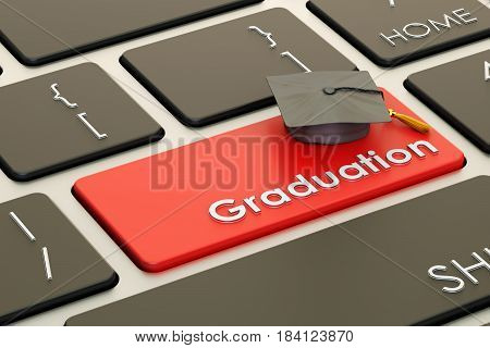 graduation button red key on keyboard. 3D rendering