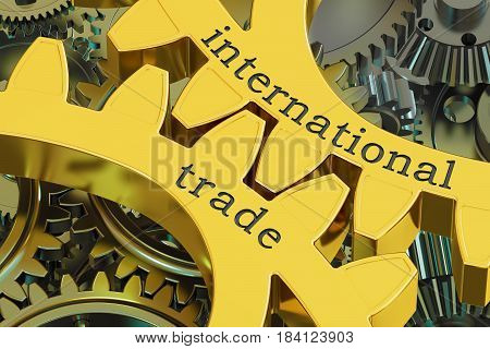 International Trade concept on the gearwheels 3D rendering