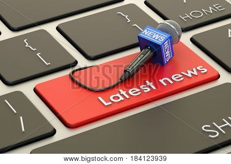 latest news button red key on keyboard. 3D rendering