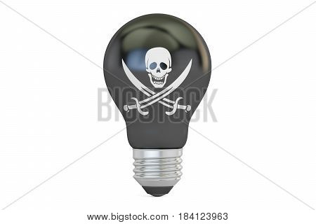 Light bulb with pirate flag 3D rendering isolated on white background