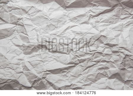 Texture of white crumpled paper background. Paper